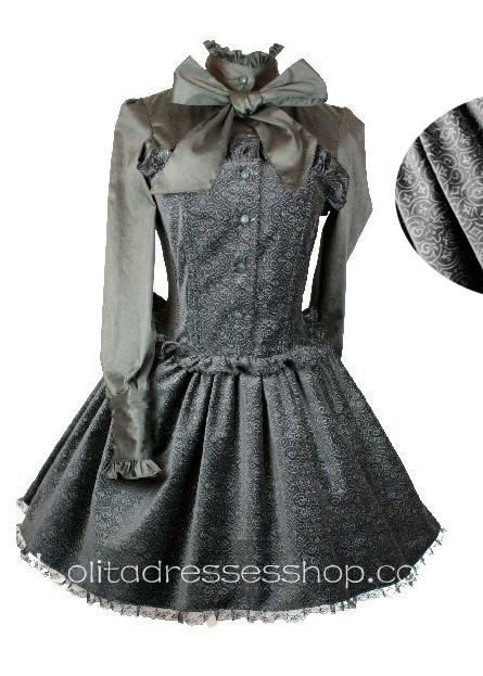 Cotton Black Stand Collar Long Sleeves Gothic Lolita Dress