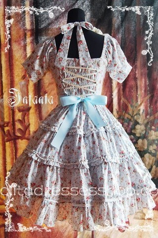 Blue Cotton Square-collar Flowers Bow Lolita Dress