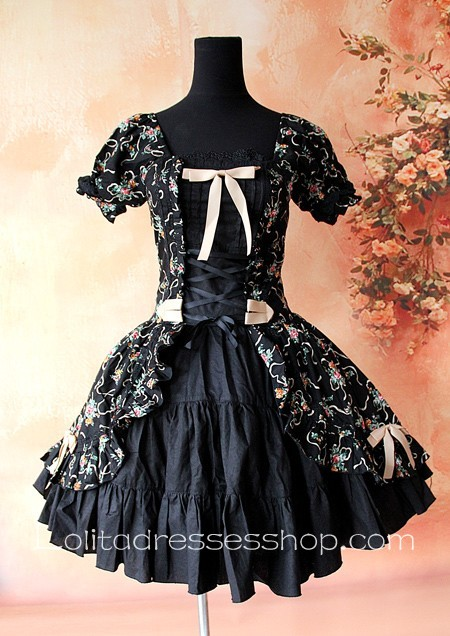 332842920851 Cheap Black Cotton Printed Flowers Lolita One Piece Dress Sale At ...