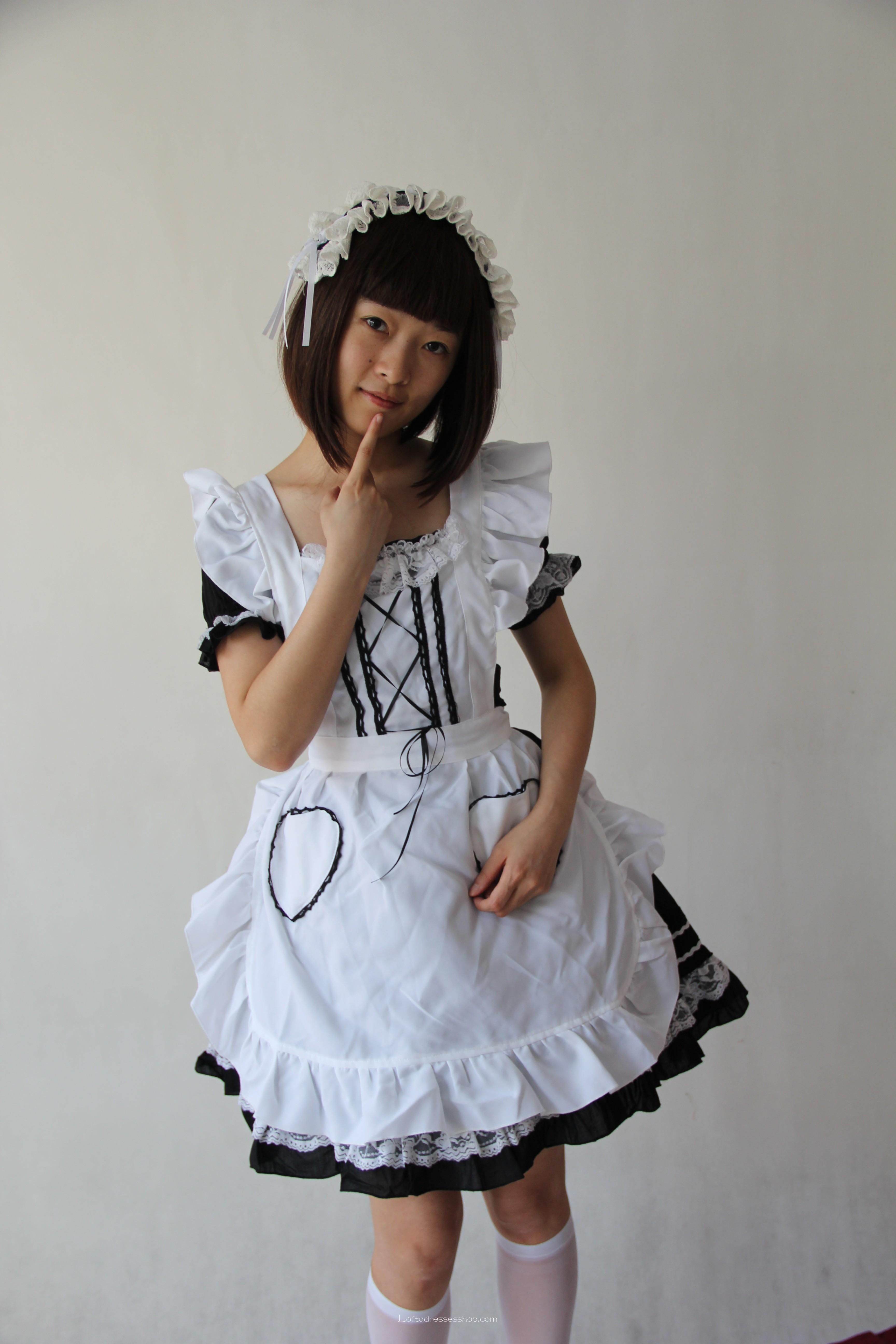 imageporter.com imagesize:ul@ Cheap White Black Maid Lolita Dress