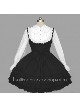 Black And White Cotton Doll Collar Long Sleeve Empire Knee-length Ruffle Gothic Lolita Dress