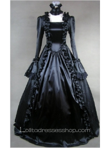 Black Cotton Square-collar Long Sleeve Floor-length Pleats Gothic Lolita Dress