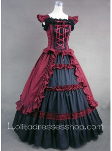 Red And Black Cotton Square-collar Sleeveless Floor-length Tiers Gothic Lolita Dress