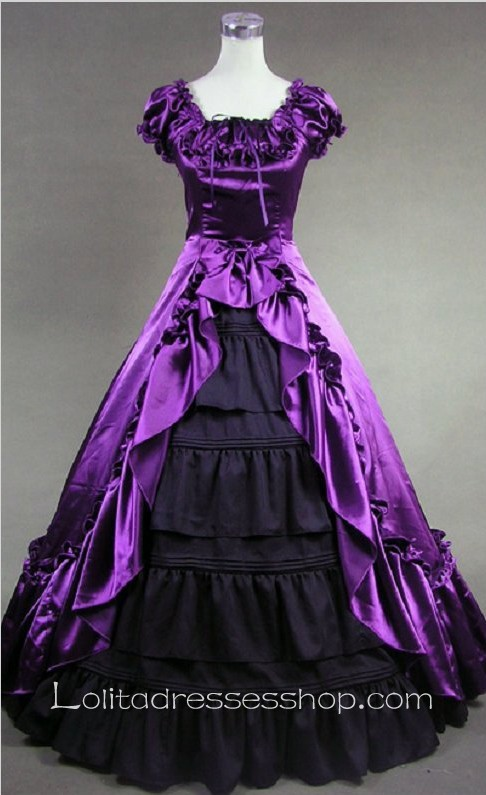 Purple and Black Floor Length Dresses
