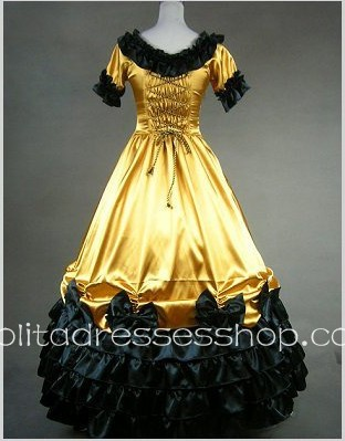 Light Yellow Cotton Round Neck Short Sleeve Floor-length Bowknot Gothic Lolita Dress
