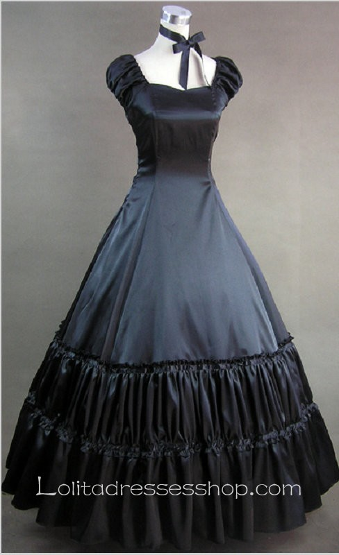 Cheap Black Cotton Sweetheart Cap Sleeve Floor-length Pleats Gothic ...