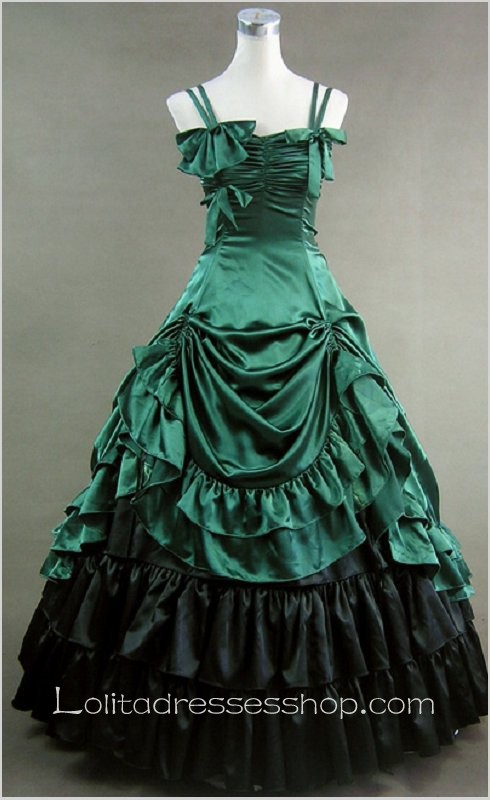 Green Cotton Straps Sleeveless Floor-length Bowknot Tiers Gothic Lolita Dress