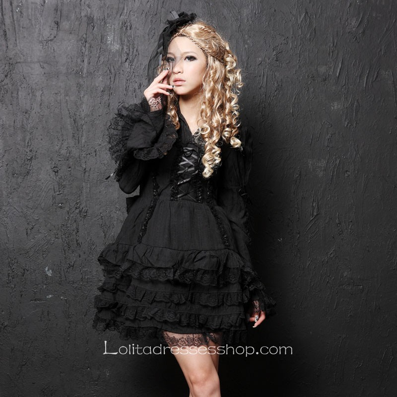 Black Lace Doll collar Long Sleeve Short Lace Trim Gothic Lolita Dress