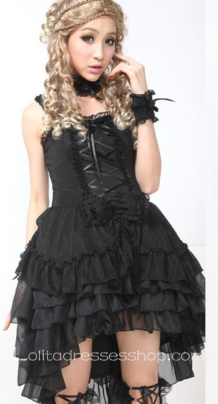 Cheap Black Lace Straps Sleeveless Short Lace Trim Gothic Lolita