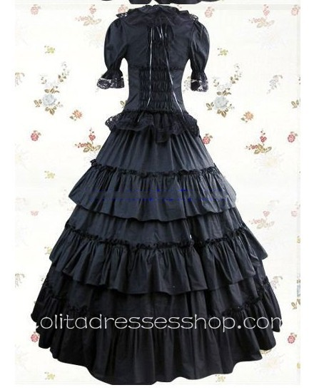 Black Cotton Square-collar Short Sleeve Floor-length Tiers Gothic Lolita Dress