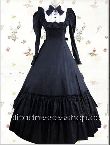 Black And White Cotton Turtleneck Long Sleeve Floor-length Bowknot Gothic Lolita Dress