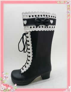 Black Lacework Heel PU Lolita Boots With Bows