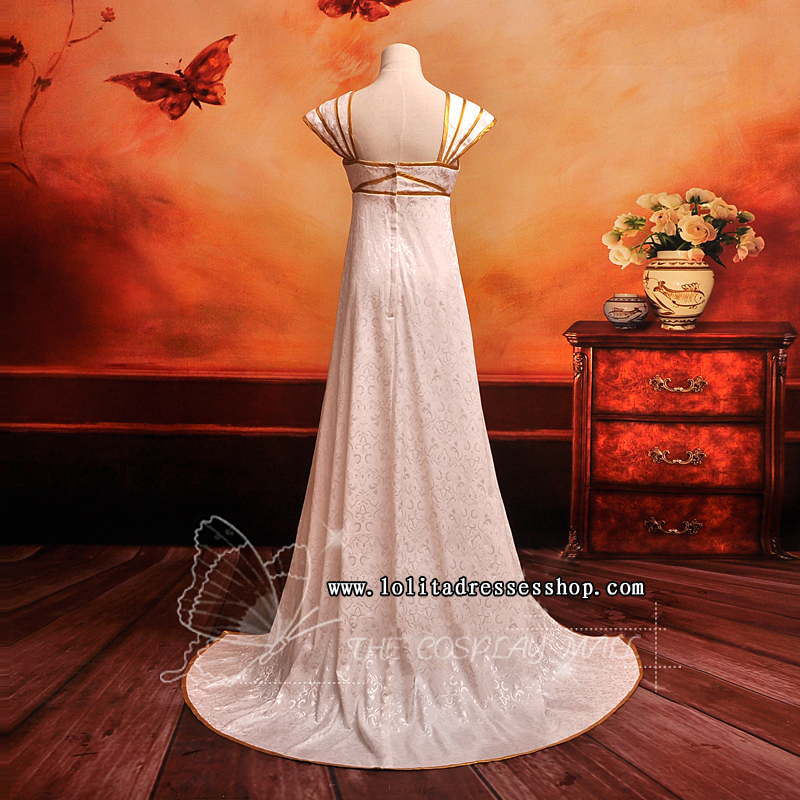 White Square-collar Cap Sleeves Floor-length Ruffle Cosplay Lolita Dress
