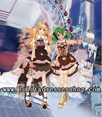 Black And Pink Turndown Collar Sleeveless High Low Lace Trim With Bowknot Cosplay Lolita Dress