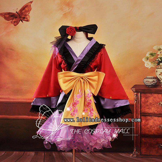 Red and Purple V-Neck Long Sleeves Short Ruffle With Bowknot Cosplay Lolita Dress