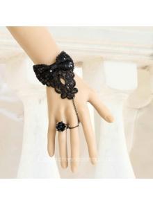 Black Bowknot Lace Lolita Bracelet