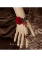 Gorgeous Red Flower With Ring Lolita Bracelet