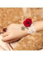Sweet Red And White With Flower Ring Lolita Bracelet