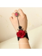 Black with Red Flower Gothic Lace Lolita Bracelet