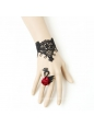 Black Lace Red Flower Lolita Bracelet