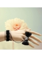 Black Flowers and Bowknot Lace Lolita Bracelet