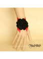 Red Leather and Black Flower Lolita Bracelet
