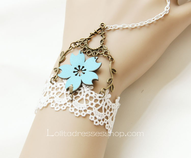 Blue and White Sweet Lace Lolita Bracelet