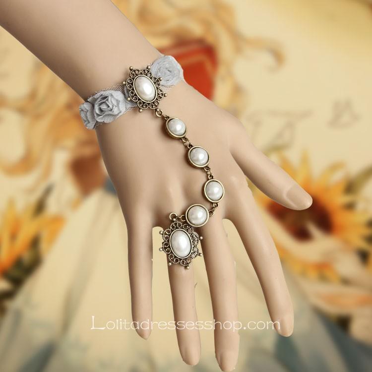 Light Grey With Flowers and Pearls Lace Lolita Bracelet
