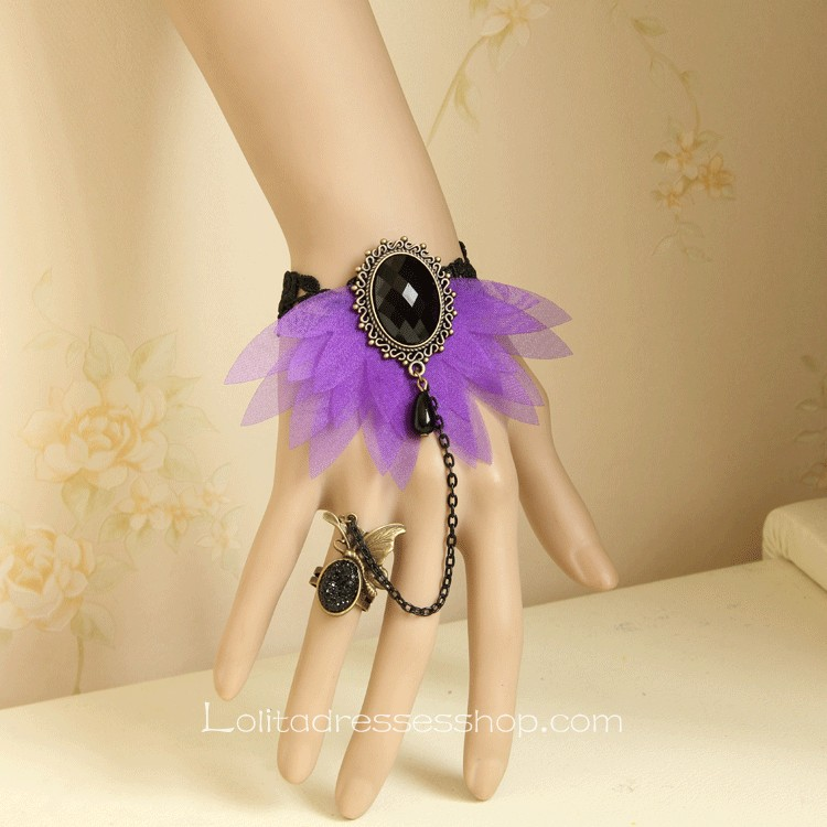 Black Lace Purple Flower Lolita Bracelet
