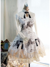 Lolita Cotton Chinese Style Landscape Print Fold Tassel Flounced Stand Collar Long Sleeve Dress