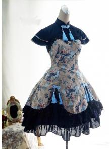 Lolita Cotton Chinese Style Print Fold Tassel  Flounced Stand Collar Feifei Sleeve Dress