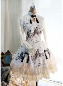 Lolita Cotton Chinese Style Landscape Print Fold Tassel Flounced Stand Collar Long Sleeve Dress