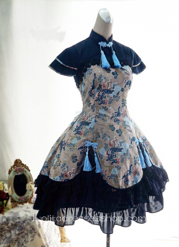 Cheap Lolita Cotton Chinese Style Print Fold Tassel Flounced Stand ...