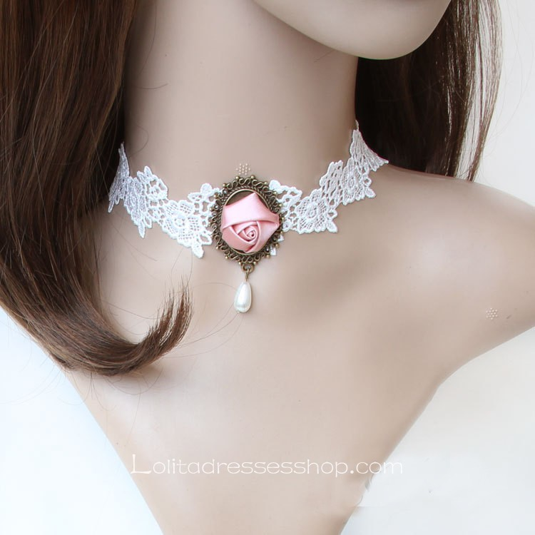 Bridal Lace White Flower Necklace