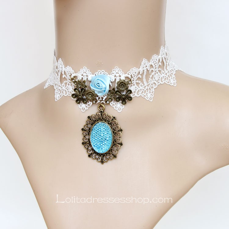 Lolita Aegean Sea White Lace Fashion Flower Necklace