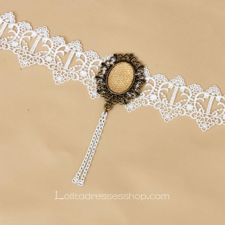 Lolita White Gemstone Louvre Opera Lace Nnecklace