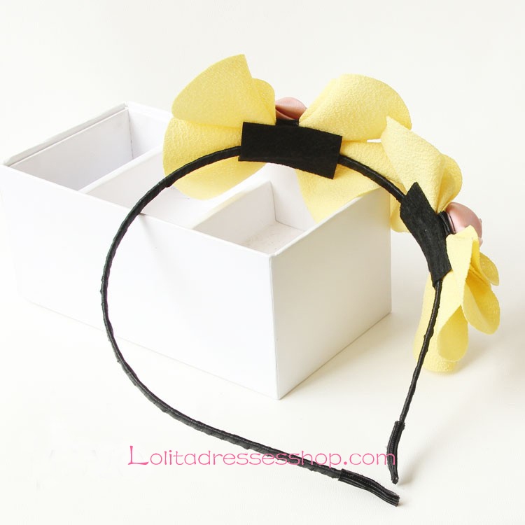 Lolita Headdress Yellow Flowers Bow Headband