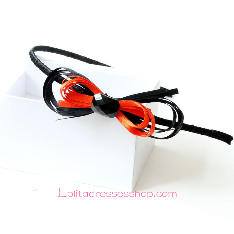 Lolita Headdress Orange Black Mixed Colors Bow Headband
