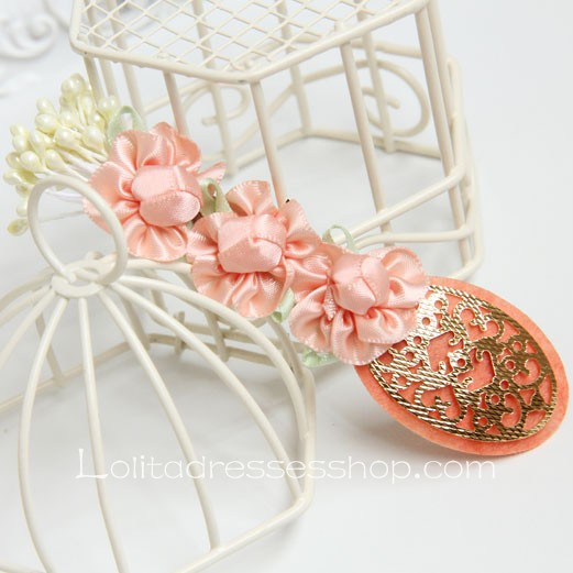 Lolita Headdress Cute Pink Flowers Barrette