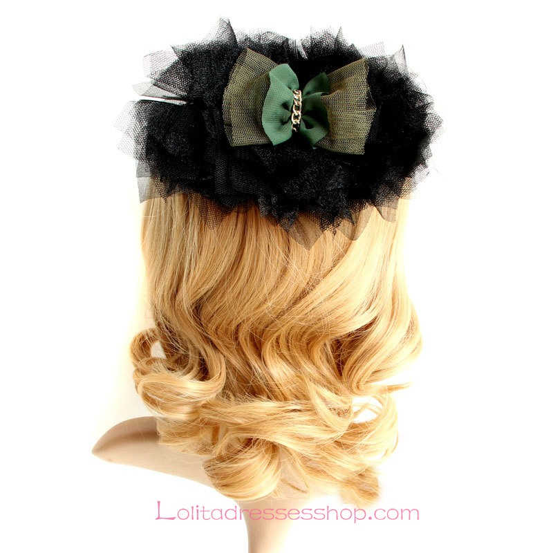 Lolita Headdress Black Lace Bow Fashion Barrette