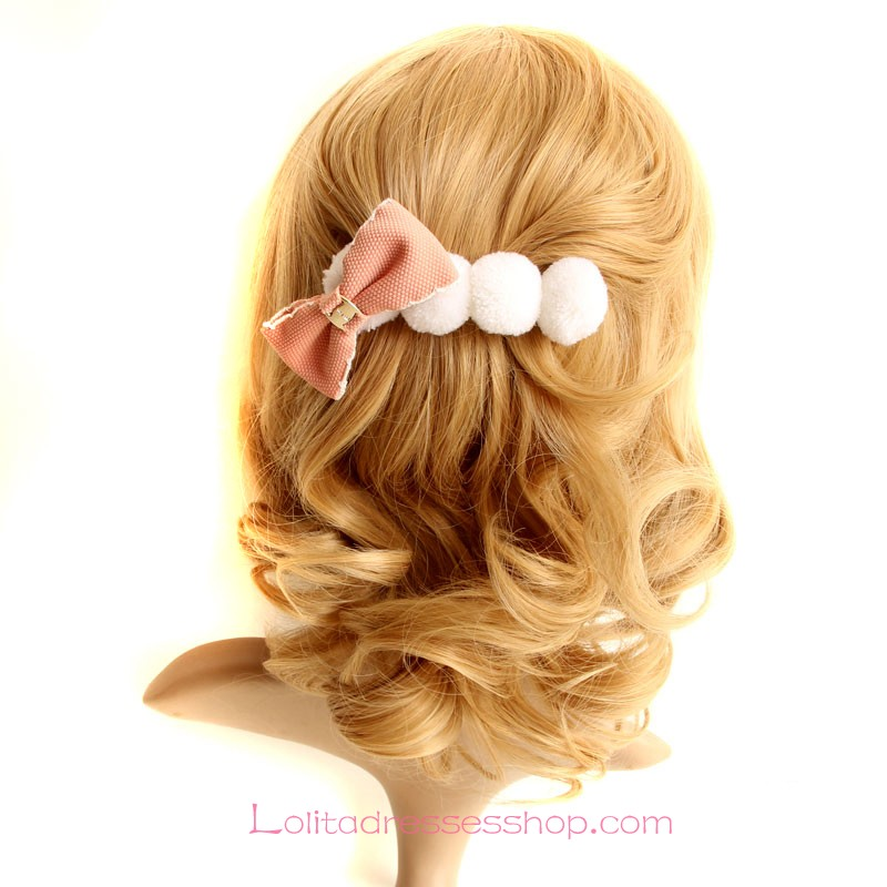 Lolita Headdress Cute Pink Bow Hair Ball Barrette