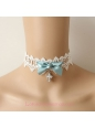 Lolita Small Fresh White Lace Cross Bow Necklace
