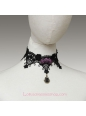 Lolita Gothic Black Lace Purple Roses Necklace