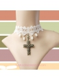 Lolita White Bridal Cross Pearl Lace Necklace