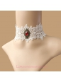 Lolita White Bridal Gemstone Lace Necklace