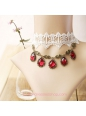 Lolita White Lace Bridal Fashion Red Gem Necklace
