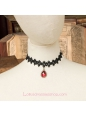 Lolita Black Drop Lace Bridal Fashion Red Gem Necklace