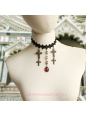 Lolita Black Drop Lace Bridal Fashion Red Gem Cross Necklace