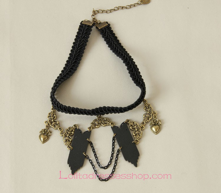 Lolita Punk Rock Black Heart-shaped Pattern Necklace