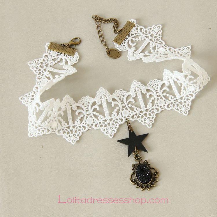 Lolita Punk White Star Lace Diamond Necklace